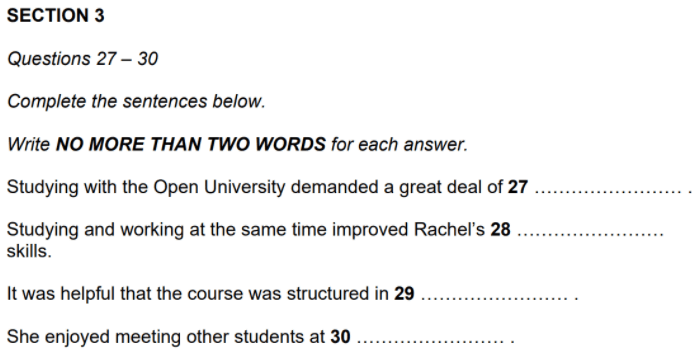 How To Do IELTS Listening Sentence Completion Questions